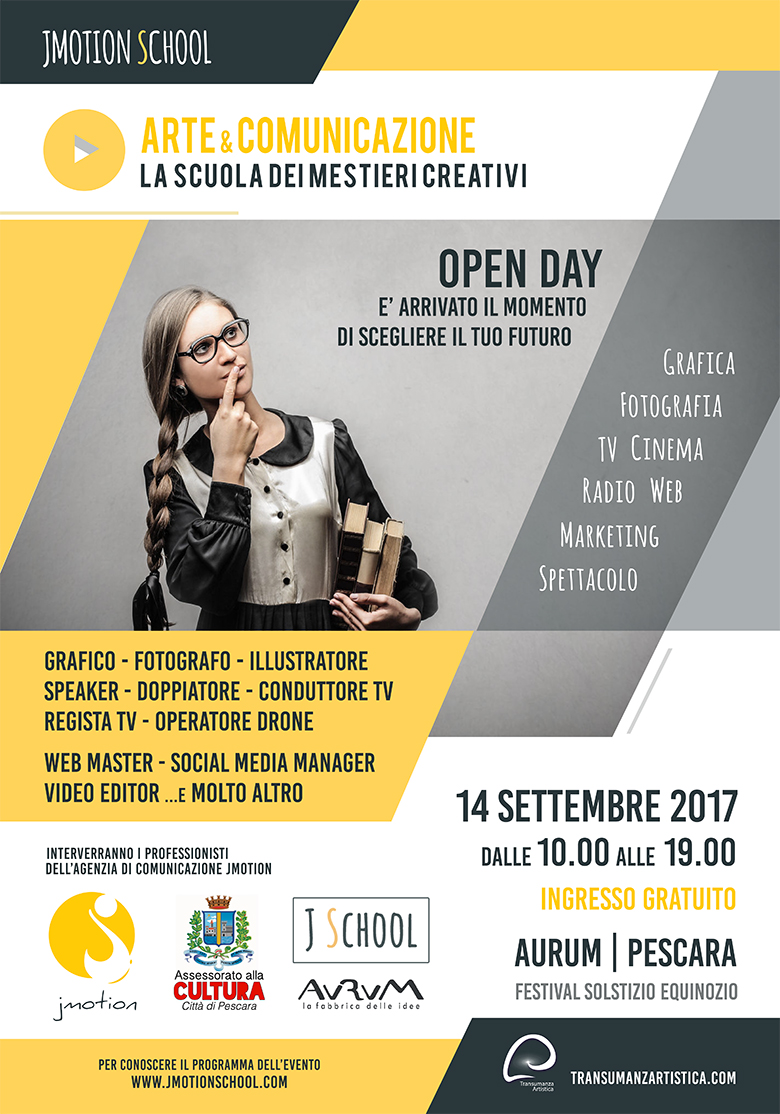 corsi JMOTION SCHOOL 14settembre arte e comunicazione AURUM Pescara